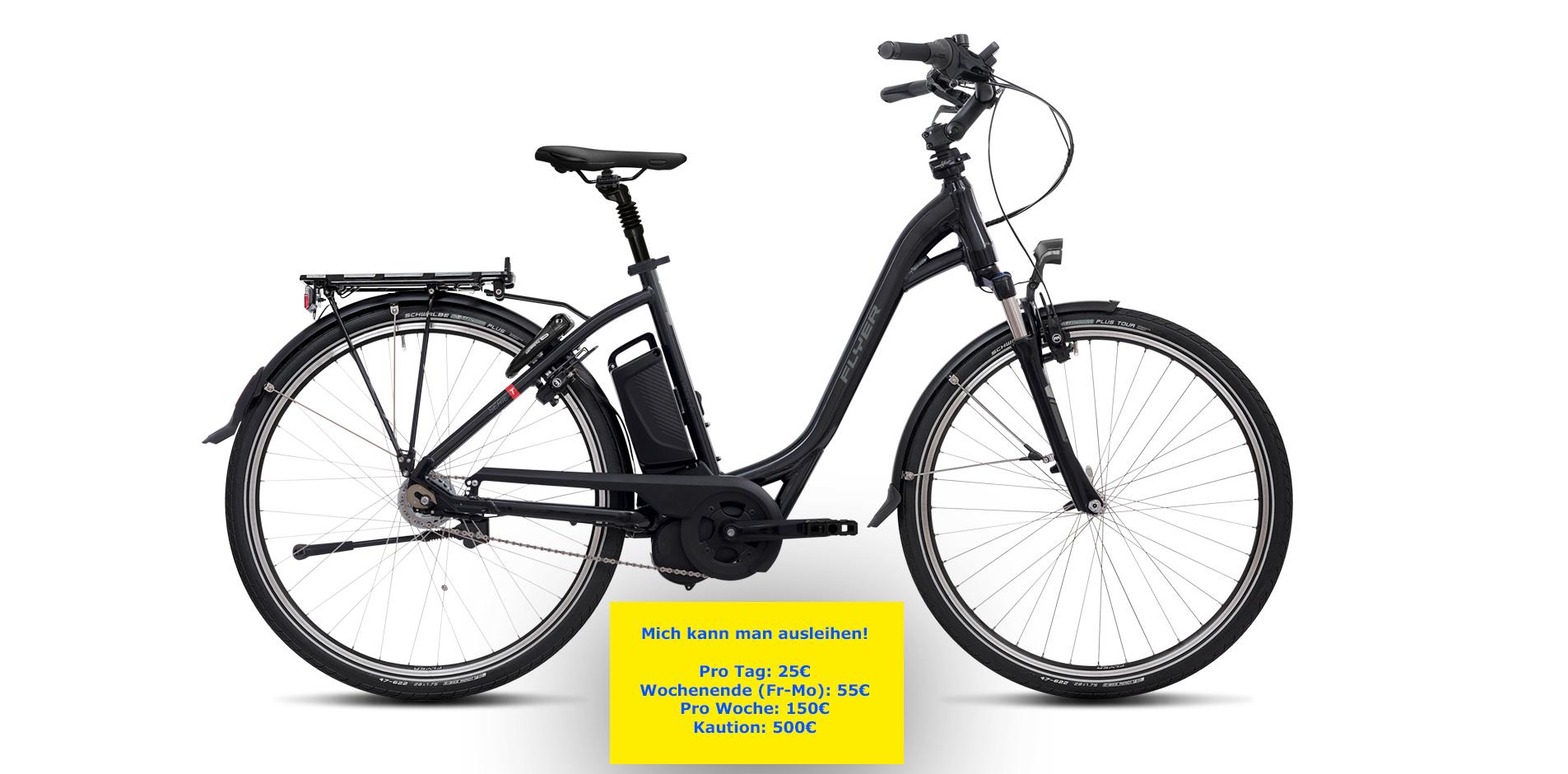 Flyer E-Bike mit Verleih-Schild